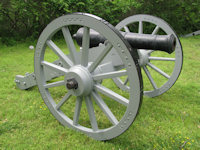 Full-size Revolutionary War carriage and cast iron gun barrel - click here for a larger image...